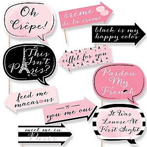 Funny Paris, Ooh La La - 10 Piece Paris Themed Photo Booth Props Kit
