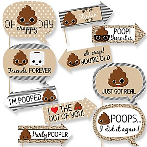 Party 'Til You're Pooped - 10 Piece Photo Booth Props Kit
