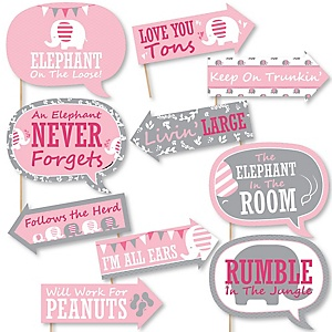 Funny Pink Elephant - 10 Piece Girl Baby Shower or Birthday Party Photo Booth Props Kit