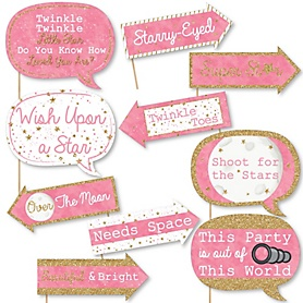 Funny Pink Twinkle Twinkle Little Star - 10 Piece Baby Shower or Birthday Party Photo Booth Props Kit
