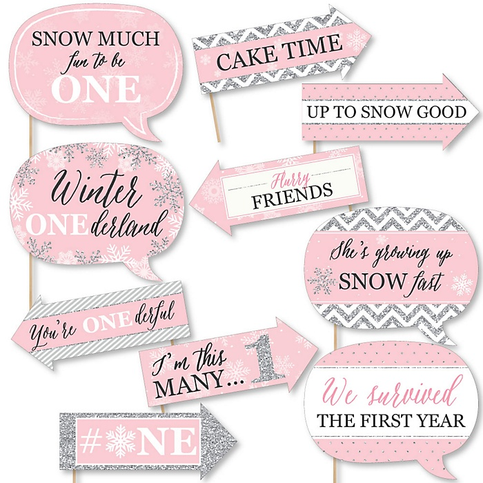 Funny Pink ONEderland - 10 Piece Holiday Snowflake Winter Wonderland Birthday Party Photo Booth Props Kit