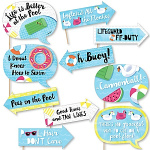 Funny Make A Splash - Pool Party - 10 Piece Summer Swimming Party or Birthday Party Photo Booth Props Kit