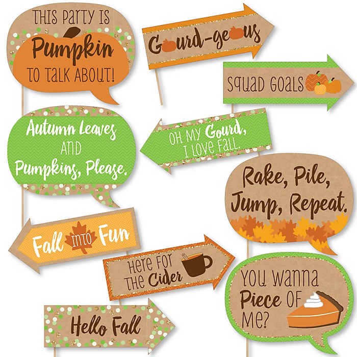 Funny Pumpkin Patch - Fall & Thanksgiving Party 10 Piece Photo Booth Props Kit