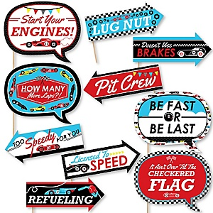 Funny Let's Go Racing - Racecar - 10 Piece Race Car Birthday Party or Baby Shower Photo Booth Props Kit