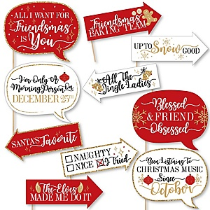 Funny Red and Gold Friendsmas - 10 Piece Friends Christmas Party Photo Booth Props Kit
