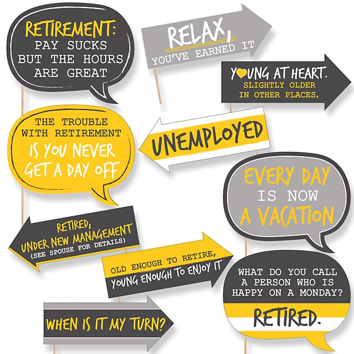 Funny Retirement - 10 Piece Photo Booth Props Kit
