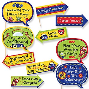 Funny Robots - 10 Piece Baby Shower or Birthday Party Photo Booth Props Kit