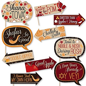 Funny Rosh Hashanah - Jewish New Year 10 Piece Photo Booth Props Kit