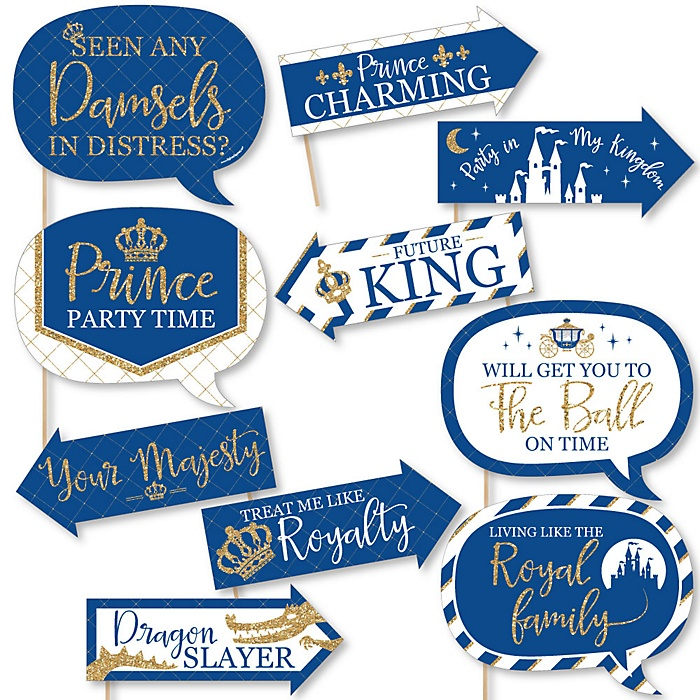 Funny Royal Prince Charming - 10 Piece Baby Shower or Birthday Party Photo Booth Props Kit