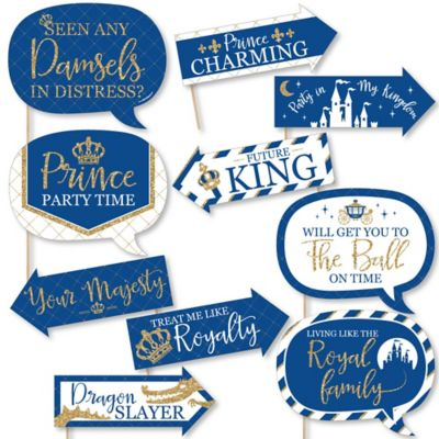 Funny Royal Prince Charming   10 Piece Baby Shower Or Birthday Party Photo Booth  Props Kit