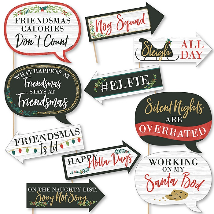 Funny Rustic Merry Friendsmas - 10 Piece Friends Christmas Party Photo Booth Props Kit