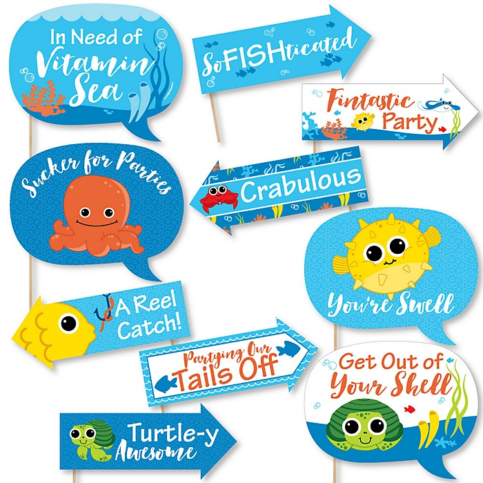 Funny Under The Sea Critters - 10 Piece Birthday Party or Baby Shower Photo Booth Props Kit