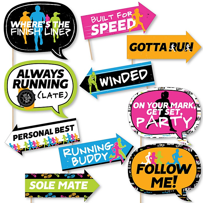 Funny Set The Pace - Running - 10 Piece Track, Cross Country or Marathon Photo Booth Props Kit
