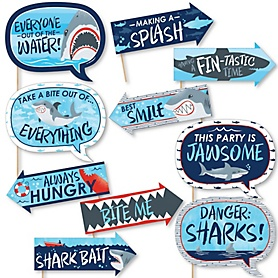Funny Shark Zone - 10 Piece Jawsome Shark Viewing Week Photo Booth Props Kit