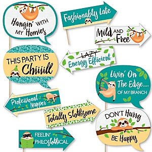 Funny Let's Hang - Sloth - 10 Piece Baby Shower or Birthday Party Photo Booth Props Kit