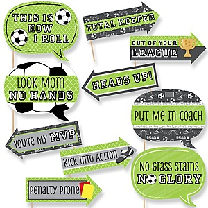 Funny GOAAAL! - Soccer - 10 Piece Baby Shower or Birthday Party Photo Booth Props Kit