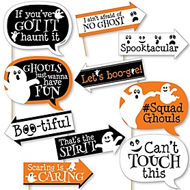 Funny Spooky Ghost - Halloween Party 10 Piece Photo Booth Props Kit