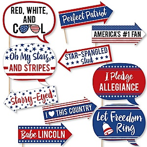 Funny Stars & Stripes - 10 Piece Patriotic Party Photo Booth Props Kit