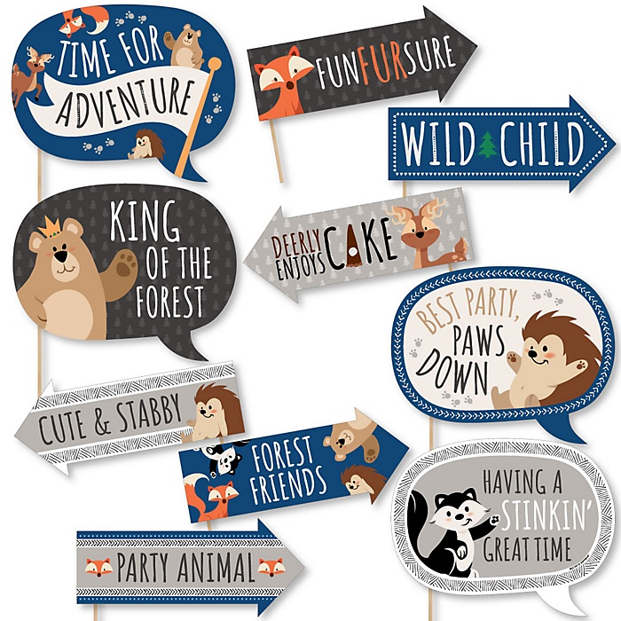 Funny Stay Wild - Forest Animals - 10 Piece Woodland Baby Shower or Birthday Party Photo Booth Props Kit
