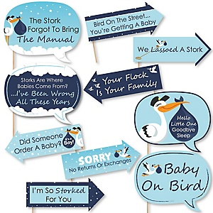 Funny Boy Special Delivery - 10 Piece Blue Stork Baby Shower Photo Booth Props Kit