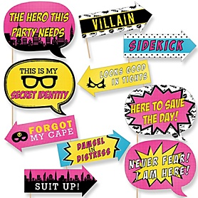 Funny Bam! Girl Superhero - 10 Piece Baby Shower or Birthday Party Photo Booth Props Kit