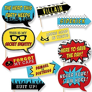 Funny Bam! Superhero - 10 Piece Baby Shower or Birthday Party Photo Booth Props Kit