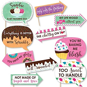 Funny Sweet Shoppe - 10 Piece Candy and Bakery Birthday Party or Baby Shower Photo Booth Props Kit