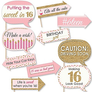 Funny Sweet 16 - 10 Piece Photo Booth Props Kit