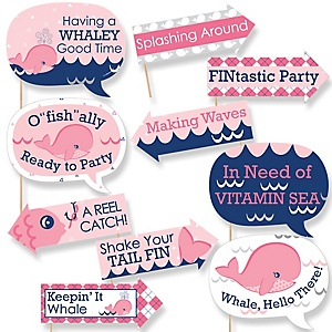 Funny Tale Of A Girl Whale - 10 Piece Baby Shower or Birthday Party Photo Booth Props Kit