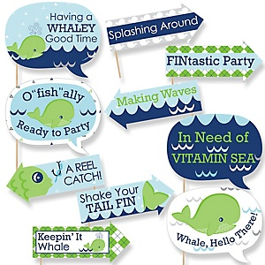 Funny Tale Of A Whale - 10 Piece Baby Shower or Birthday Party Photo Booth Props Kit