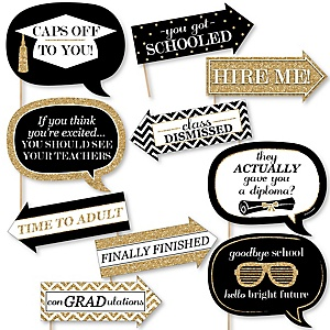 Funny Tassel Worth The Hassle - Gold - 10 Piece Graduation Party Photo Booth Props Kit