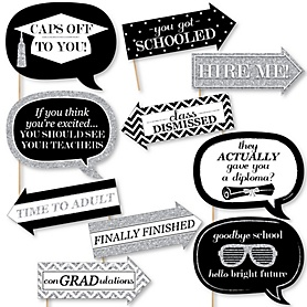 Funny Tassel Worth The Hassle - Silver - 10 Piece Graduation Party Photo Booth Props Kit