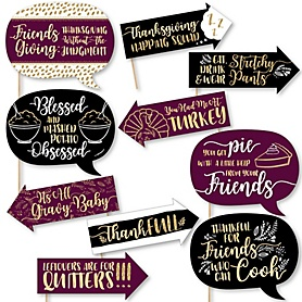 Funny Elegant Thankful for Friends - 10 Piece Friendsgiving Photo Booth Props Kit