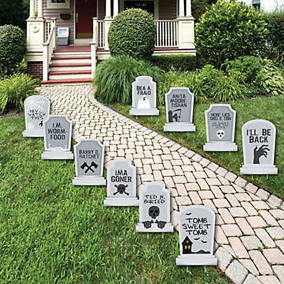 funny tombstones graveyard lawn decorations halloween yard decorations 10 piece bigdotofhappinesscom