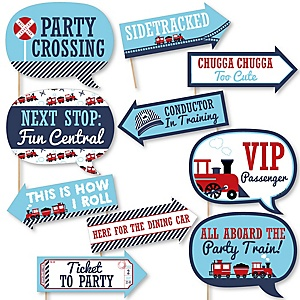 Funny Railroad Party Crossing - 10 Piece Steam Train Birthday Party or Baby Shower Photo Booth Props Kit