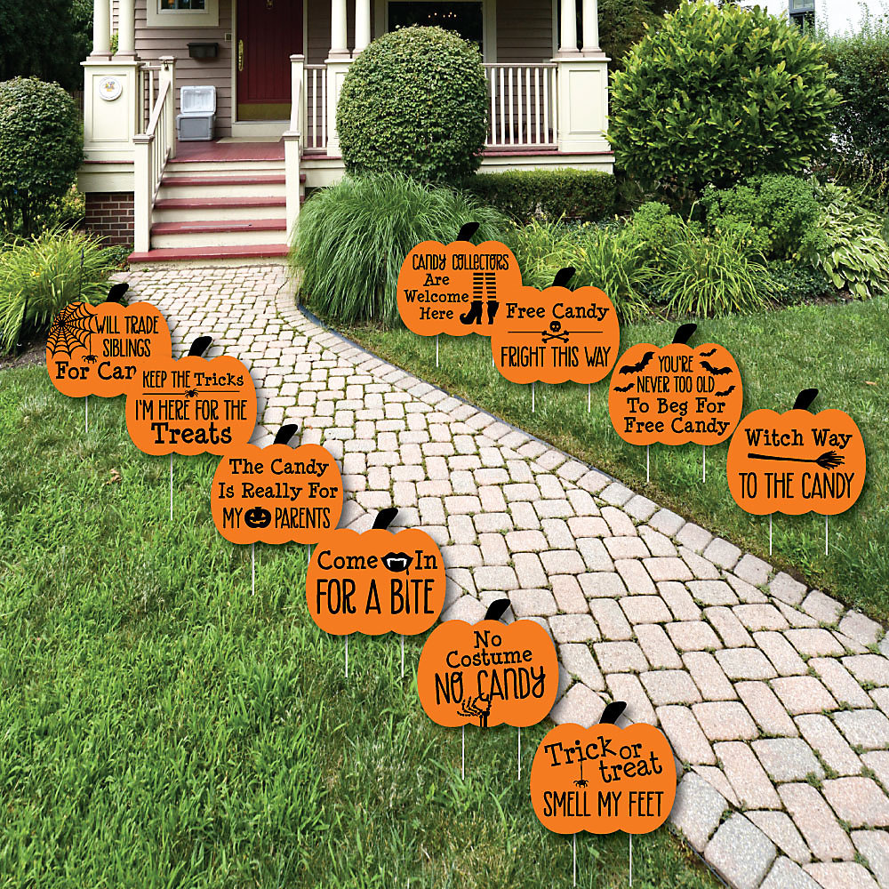 funny trick or treat pumpkin lawn decorations outdoor halloween yard decorations 10 piece