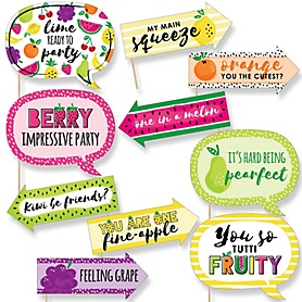 Funny Tutti Fruity - 10 Piece Frutti Summer Baby Shower Photo Booth Props Kit