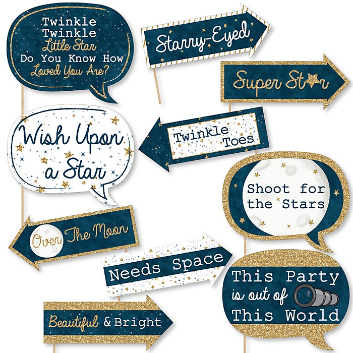 Funny Twinkle Twinkle Little Star - 10 Piece Baby Shower or Birthday Party Photo Booth Props Kit