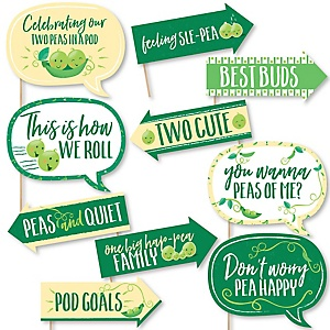 Funny Double the Fun - Twins Two Peas In A Pod - 10 Piece Baby Shower or First Birthday Party Photo Booth Props Kit
