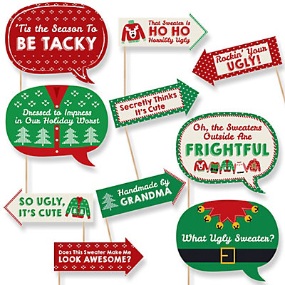 funny ugly sweater 10 piece holiday christmas photo booth props kit bigdotofhappinesscom