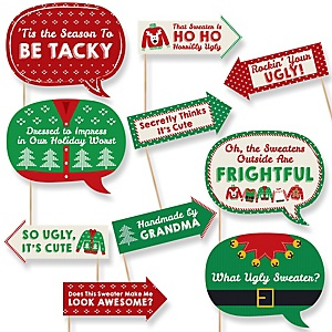 Funny Ugly Sweater - 10 Piece Holiday & Christmas Photo Booth Props Kit