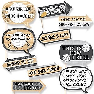 Funny Bump, Set, Spike - Volleyball - 10 Piece Baby Shower or Birthday Party Photo Booth Props Kit