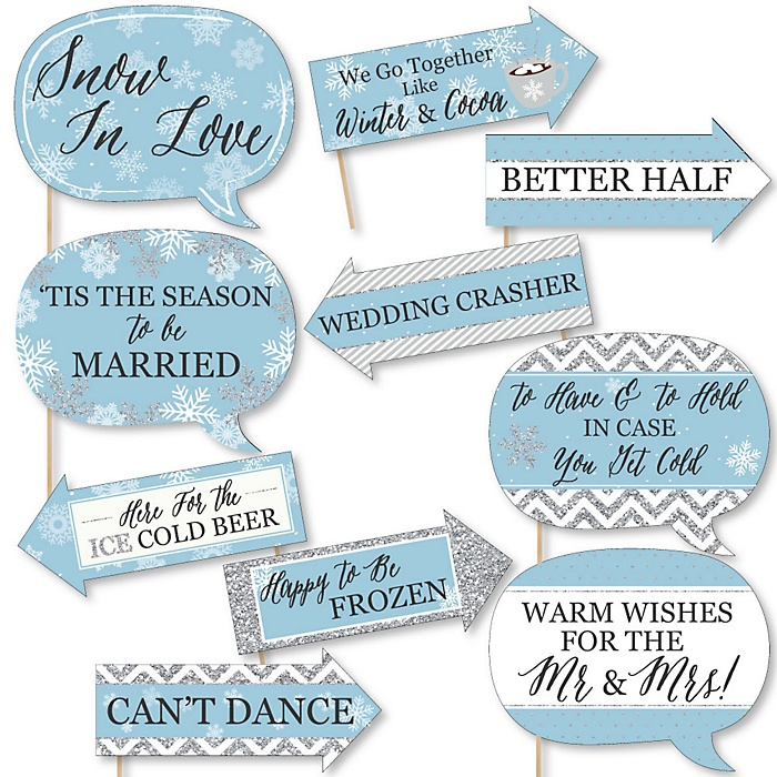 Funny Winter Wonderland - 10 Piece Snowflake Holiday Party & Winter Wedding Photo Booth Props Kit