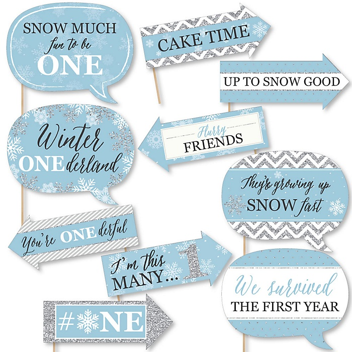Funny ONEderland - 10 Piece Holiday Snowflake Winter Wonderland Birthday Party Photo Booth Props Kit