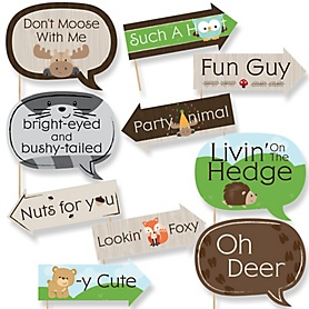 Funny Woodland Creatures - 10 Piece Baby Shower or Birthday Party Photo Booth Props Kit