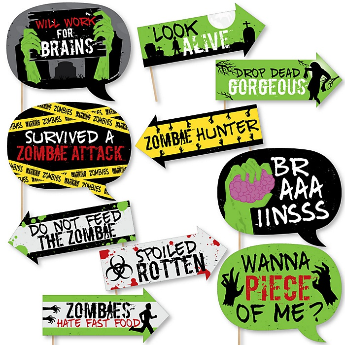 Funny Zombie Zone - Halloween or Birthday Zombie Crawl Party 10 Piece Photo Booth Props Kit
