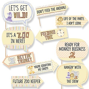 Funny Zoo Crew - 10 Piece Baby Shower or Birthday Party Photo Booth Props Kit