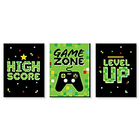 Game Zone - Girl Pixel Video Game Nursery Wall Art and Kids Room Decor - 7.5 x 10 inches - Set of 3 Prints