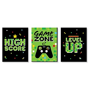 Game Zone - Girl Pixel Video Game Nursery Wall Art and Kids Room Décor - 7.5 x 10 inches - Set of 3 Prints