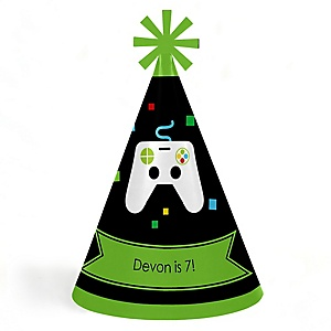 Game Zone - Personalized Cone Happy Birthday Party Hats for Kids and Adults - Set of 8 (Standard Size)